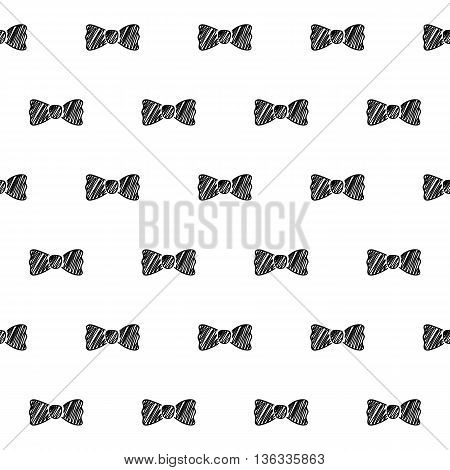 Bows ribbons scribble sketch seamless pattern background. Hand drawn vector illustration.