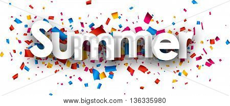 Summer paper banner with color confetti. Vector illustration.