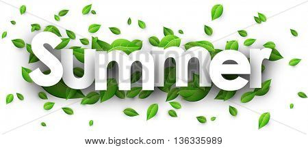 Summer paper banner with fresh green leaves. Vector illustration.