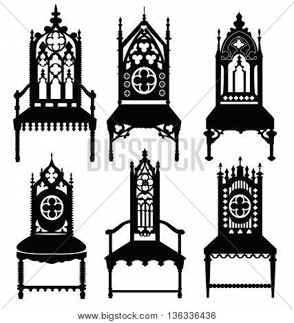Gothic style chairs set with ornaments. Vector sketch