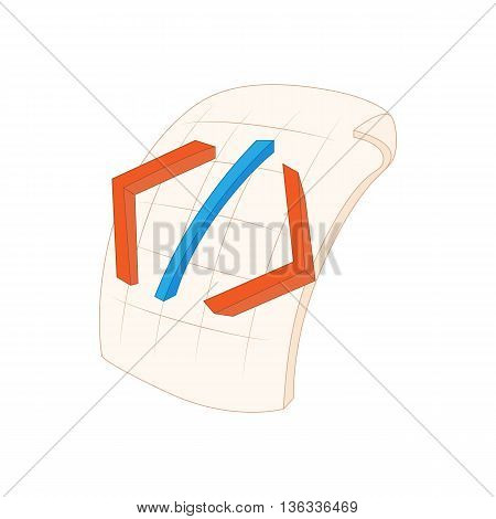 HTML file icon in cartoon style on a white background