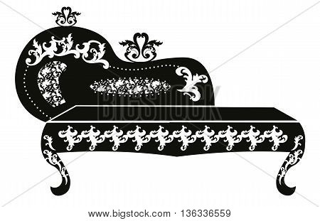 Baroque style sofa for children room with rich ornaments in black. Vector sketch