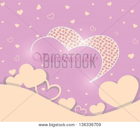 Valentine Day Greeting card shinny hearts. Vector