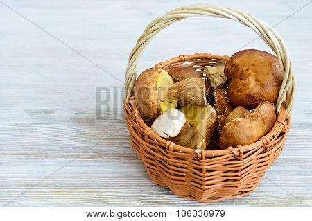 Placer White Mushrooms In A Wicker Basket.