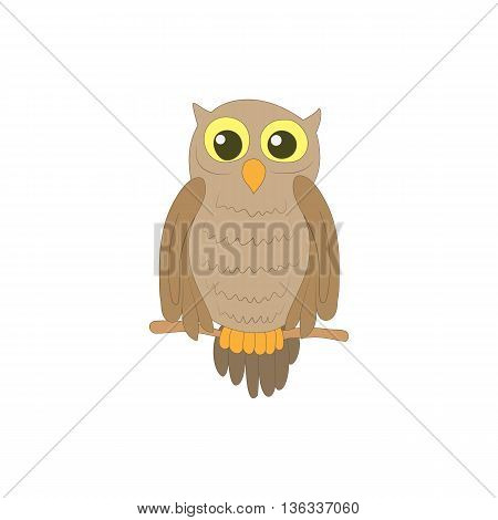Halloween owl icon in cartoon style on a white background