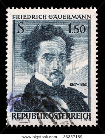 ZAGREB, CROATIA - SEPTEMBER 09: stamp printed by Austria, shows self portrait of Friedrich Gauermann, 100th Anniversary of the Death, circa 1962, on September 05, 2014, Zagreb, Croatia