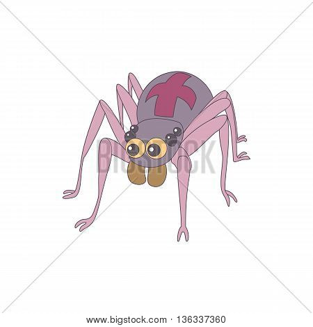 Spider icon in cartoon style on a white background