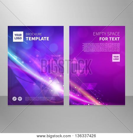 Modern annual report brochure or book vector design template. Abstract light background front and back side with one image.