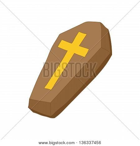Brown coffin with cross icon in cartoon style on a white background