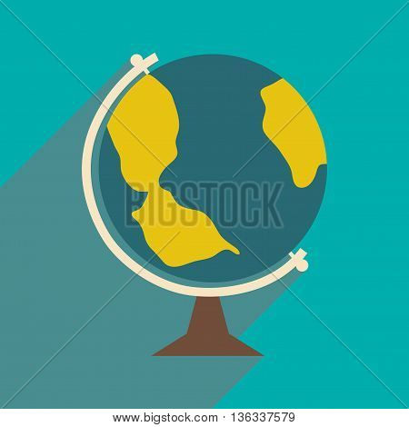 Flat with shadow icon and mobile application globe icon