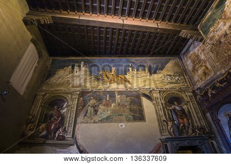 SIENA ITALY JUNE 14 2016 : interiors and architectural details of the Palazzo Pubblico Siena piazza del campo june 14 2016 in Siena Italy