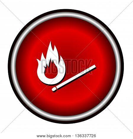Burning match vector icon on white background