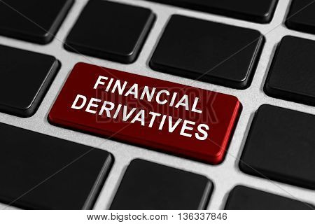financial derivatives button on keyboard business concept
