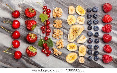 Muesli ingredients flat lay