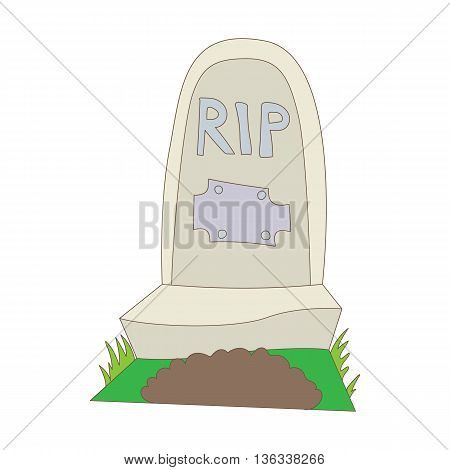 Tombstone with RIP icon in cartoon style on a white background