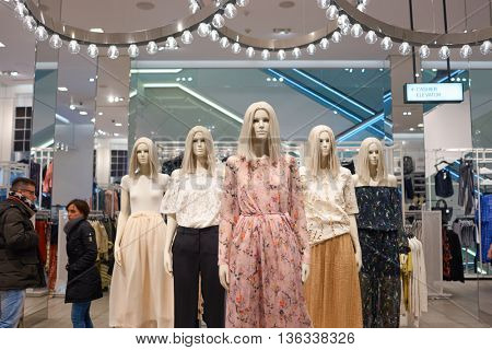 NEW YORK - CIRCA MARCH 2016: interior of H&M store. H & M Hennes & Mauritz AB is a Swedish multinational retail-clothing company, known for its fast-fashion clothing.
