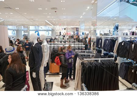NEW YORK - CIRCA MARCH 2016: interior of Times Square H&M store. H & M Hennes & Mauritz AB is a Swedish multinational retail-clothing company, known for its fast-fashion clothing.
