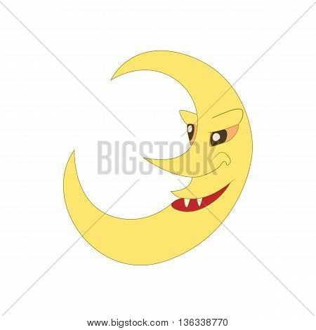 Crescent moon icon in cartoon style on a white background