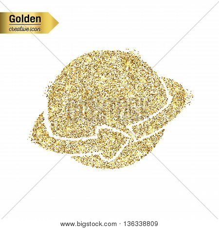 Gold glitter vector icon of planet earth isolated on background. Art creative concept illustration for web, glow light confetti, bright sequins, sparkle tinsel, bling logo, shimmer dust, foil.