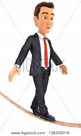 3d businessman walking on a rope illustration with isolated white background