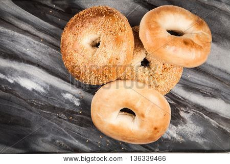 Bagels on gray background
