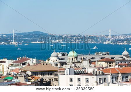 Panoramic view of Bosphorus which separates Asian Turkey from European Turkey in Istanbul