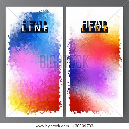Bright colored circles on the multicolor background. Rainbow stains. Set of two abstract banner.
