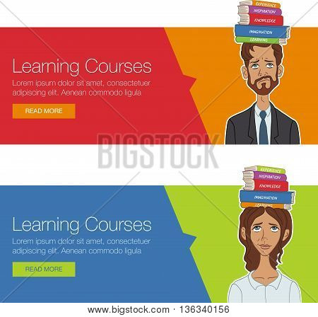 Vector template banner for website header, advertisement. Cartoon character for learning course. Website banner for business workshop, training. Banner for advertising. Set of vector horizontal banner