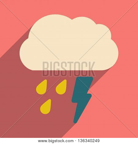 Flat with shadow icon and mobile application rain cloud lightning