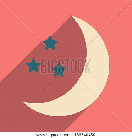 Flat with shadow icon and mobile application stars moon