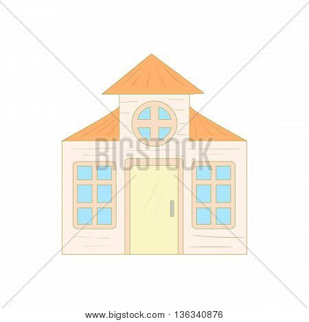 House with a mansard icon in cartoon style on a white background