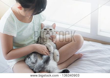 Beautiful asian girl playing with american shorthair cat on the bed