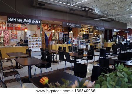 NAPERVILLE, ILLINOIS / UNITED STATES - NOVEMBER 3, 2015: One may eat Korean, Japanese, Chinese and Filipino food at the H Plaza food court in Naperville.