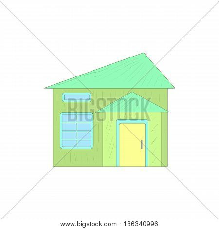 Green small cottage icon in cartoon style on a white background