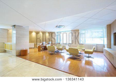 interior of lobby in modern luxury hotel