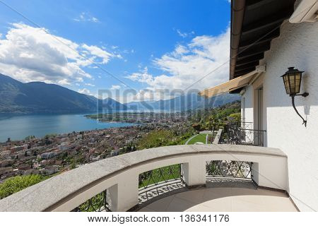 beautiful view of the Lake Maggiore from a balcony