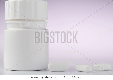 White plastic pill bottle and pills on color background