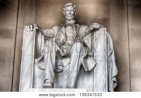 Washington, Usa - June 24 2016 - Lincoln Statue At Memorial In Washington Dc