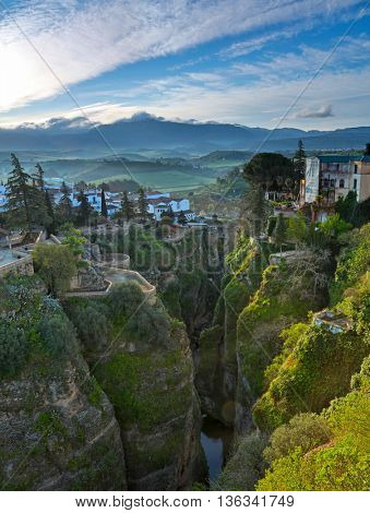 Ronda, Andalusia, Spain. Old town cityscape on the Tajo Gorge