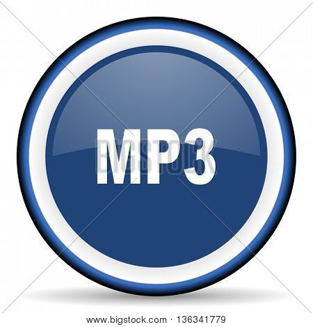 mp3 round glossy icon, modern design web element