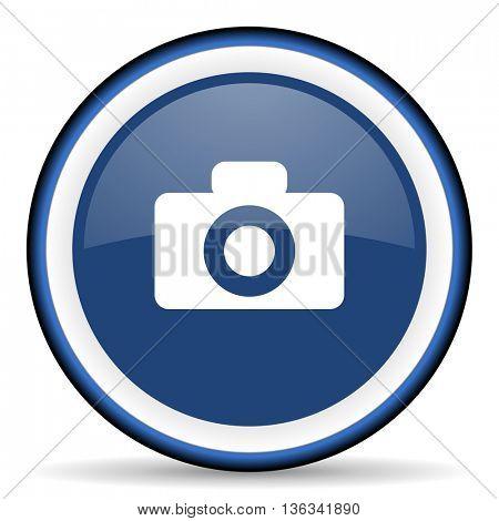 camera round glossy icon, modern design web element