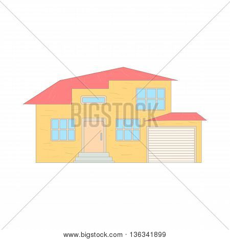 Two storey house with a garage icon in cartoon style on a white background