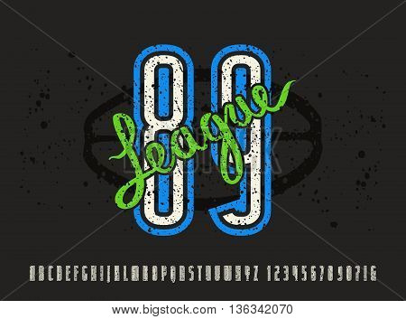 Narrow sanserif font and numbers with contour. Typeface with shabby texture. Graphic design for t-shirt. Print on black background