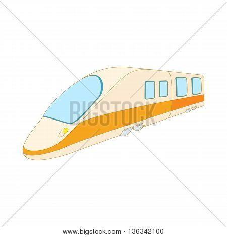 Modern high speed passenger commuter train icon in cartoon style on a white background