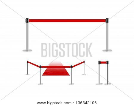 Mobile fence barrier with red belt and velvet carpet stand isolated  3d illustration. Fencing barricade on metal chrome pole posts. Portable protective rack with ribbon stretch tape. Protection fence crowd.