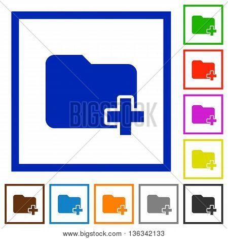 Set of color square framed Add new folder flat icons