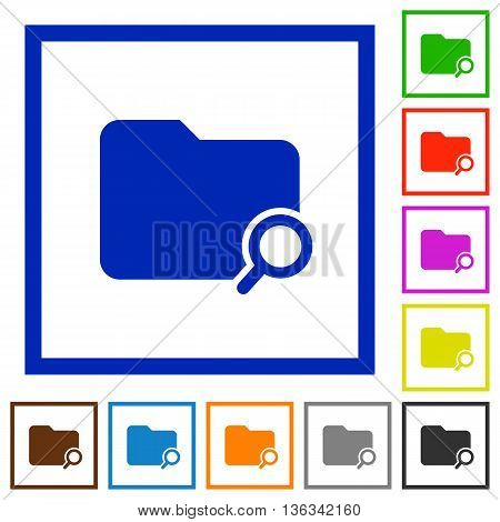 Set of color square framed Search folder flat icons