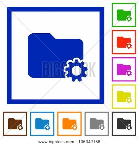 Set of color square framed Folder settings flat icons