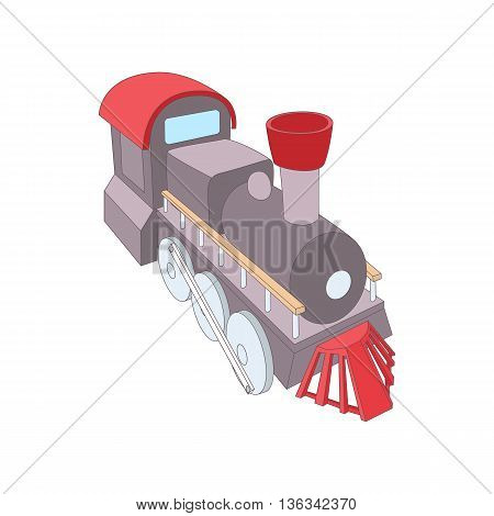 Old steam locomotive icon in cartoon style on a white background