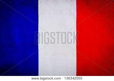 Flag of France, grunge textile background